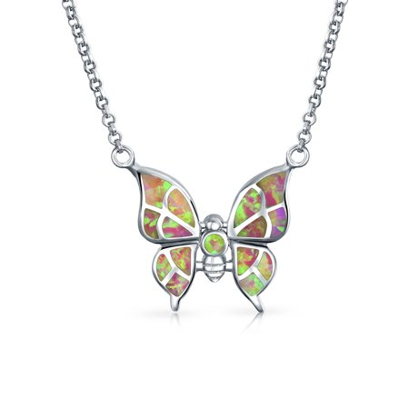 Rainbow Created Opal Pink Butterfly Pendant Necklace For Women For Girlfriend 925 Sterling Silver October Birthstone