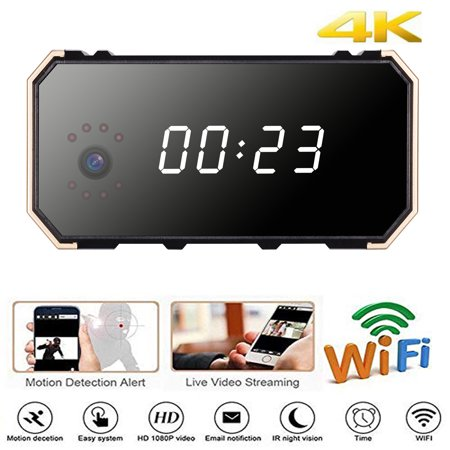EEEKit Camera WiFi Full HD 1080P Camera Clock with Night Vision Wireless Motion Detection Display Temperature 12&24 Time Display, Nanny Cam/Security Camera(Surveillance Apps for (Best Android Time Lapse Camera App)