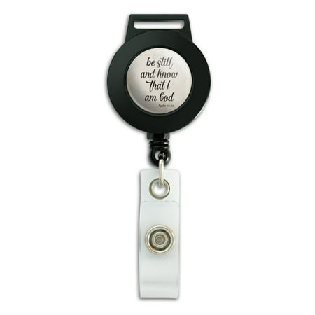 Be Still and Know that I am God Psalm Inspirational Christian Lanyard Retractable Reel Badge ID Card Holder (Christian Lanyards)