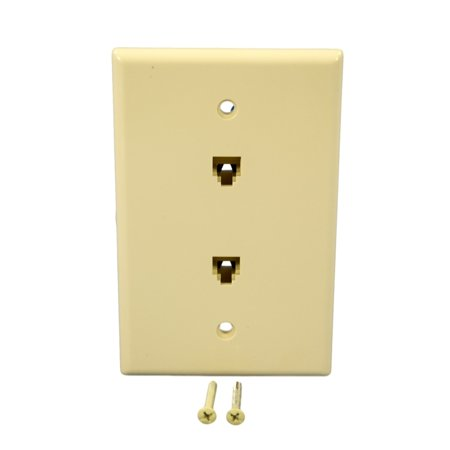 Cooper 3547-4A Almond Mid-Size Dual Four Wire Telephone Jack Wall Plate