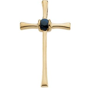 14k Yellow Gold Cross Pendant With Sapphire 21x13mm  - .09 cwt