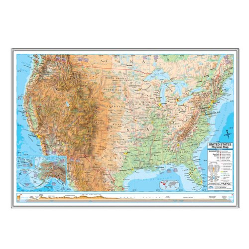 Universal Map United States Advanced Physical Mounted Framed Wall Map