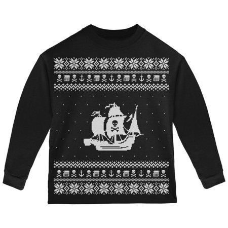 Pirate Ship Ugly Christmas Sweater Black Toddler Long Sleeve T-Shirt](Black Pirates)