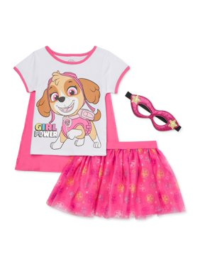 Paw Patrol Baby & Toddler Girl T-shirt with Cape, Skirt & Mask, 3 pc Outfit Set