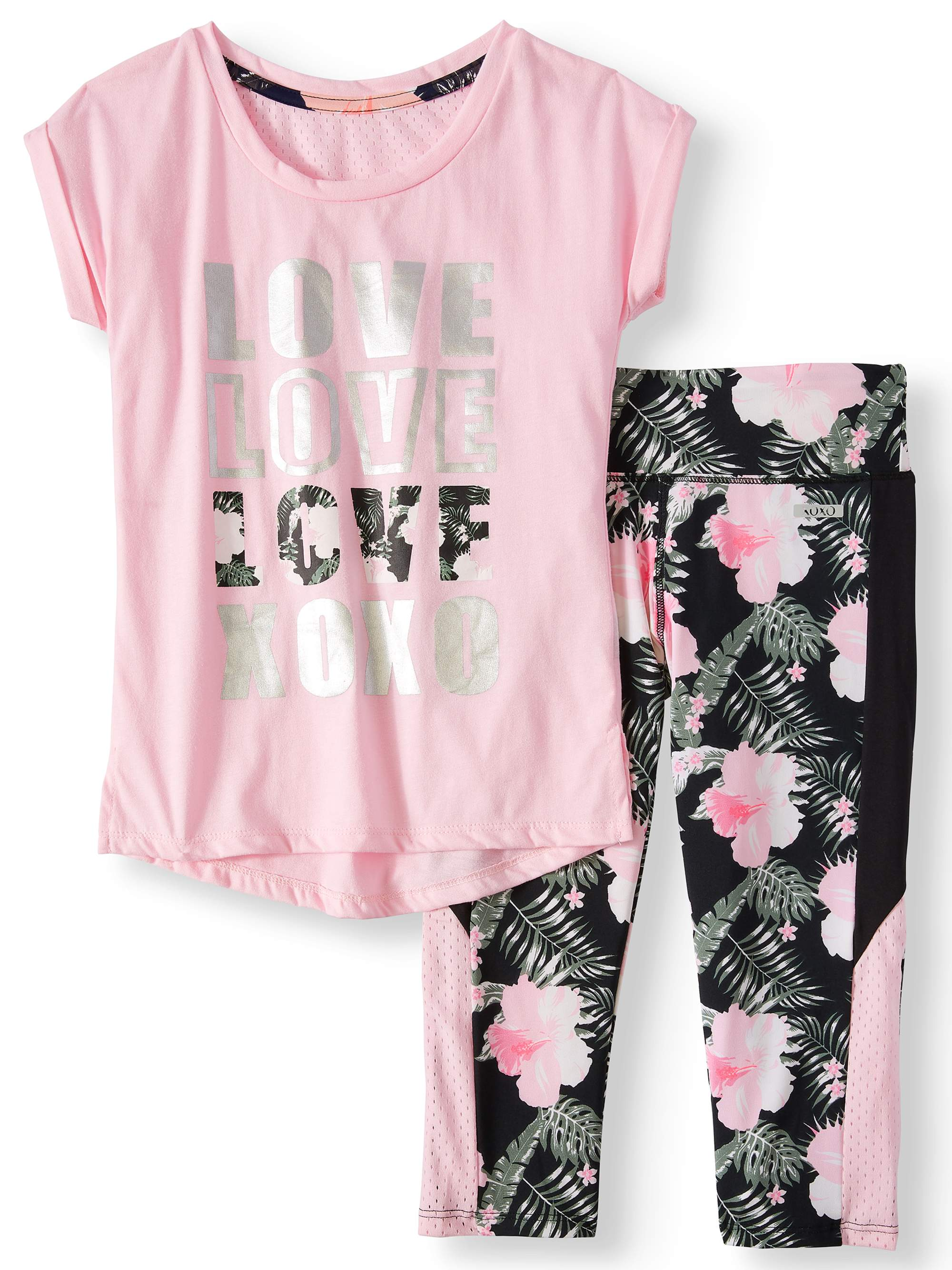 Dolman Mesh Back Top and Tropical Performance Capri, 2-Piece Active Set (Little Girls & Big Girls)
