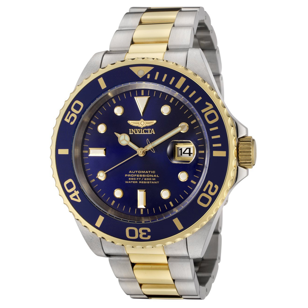 Invicta F0067 Men's Pro Diver Blue Dial Two Tone Steel Automatic Watch
