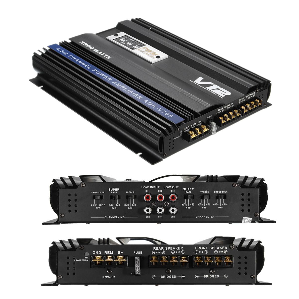 M.way Professional 3800 Watt RMS 4 CH Channel Powerful Super Loud Car Audio Power Stereo Amplifier Amp 4Ohm