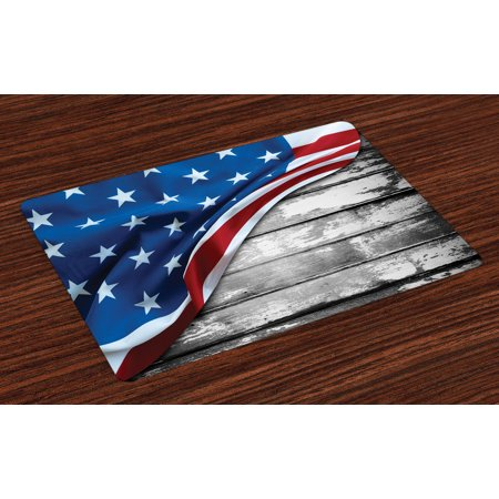 American Flag Placemats Set of 4 Close Up Design Flag over Antique Rustic Rippled Board Federal Country Art, Washable Fabric Place Mats for Dining Room Kitchen Table Decor,Grey Navy, by Ambesonne