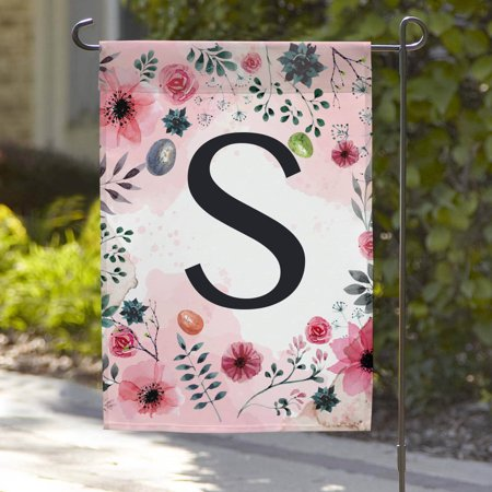 Personalized Floral Initial Garden Flag, 18