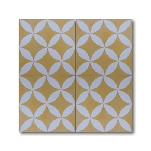 Moroccan Mosaic Amlo Yellow and White Handmade Moroccan 8 x 8 inch Cement and Granite Floor or Wall Tile (Case of 12)
