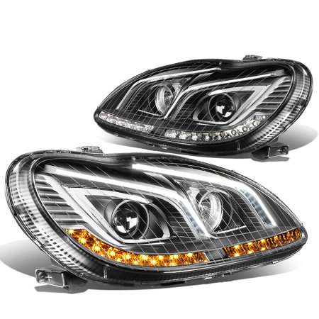For 2000 to 2006 Mercedes S -Class W220 LED DRL Light Bar+Amber Turn Signal Projector Headlight Black Housing Headlamp 01 02 03 04 05 S65 AMG