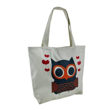 Retro Owl and Hearts White Canvas Tote Bag