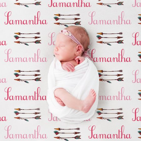 Custom Baby Blankets (Custom Bows and Arrows Pink Baby Blanket)