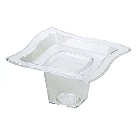 Fineline Settings 6205-CL, 2.75 x 2.75-Inch Clear Plastic Tiny Tiers Serving Trays and Cups Set, Disposable Catering Appetizers Sushi Sauce Platter, Serving Dishes (10)