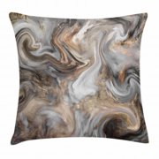 Marble Throw Pillow Cushion Cover, Retro Style Paintbrush Colors in Marbling Texture Watercolor Artwork, Decorative Square Accent Pillow Case, 18 X 18 Inches, Sand Brown Dust Light Grey, by Ambesonne