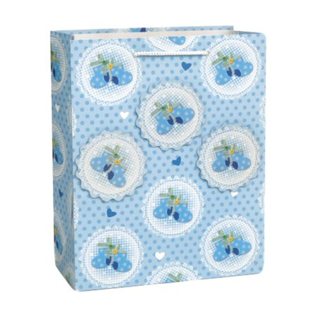 Baby Booties Blue Popout Shower Gift Bag LG Glitter Boy](Baby Gift Bags)