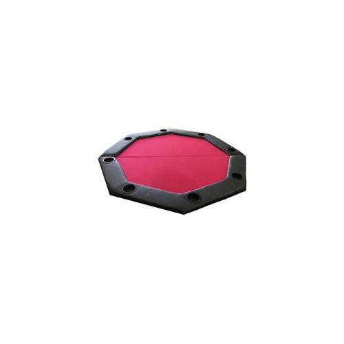 JP Commerce PDOCT-RED Padded Octagon Folding Poker Table Top with Cup Holders - Red