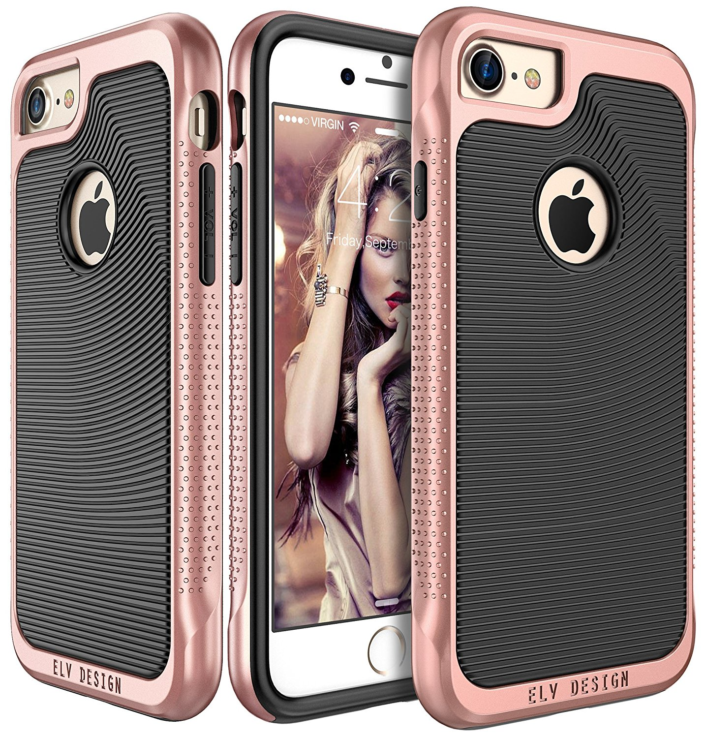 iPhone 7 Case, E LV iPhone 7 - Hybrid [Scratch/Dust Proof] Armor Defender Slim Shock-Absorption Bumper Case for Apple iPhone 7 - [BLACK/ROSE GOLD]
