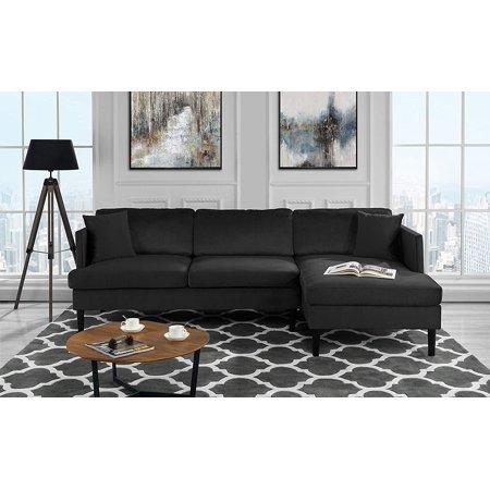 Mid Century Modern Velvet Sectional Sofa, L-Shape Couch (Black) ()