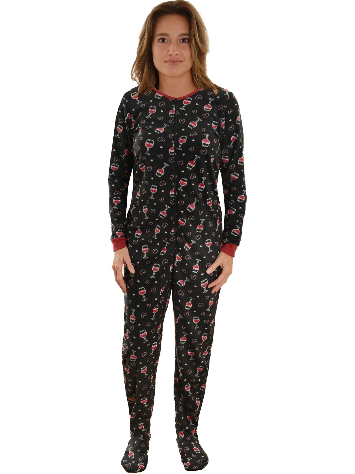 Int Intimate - Womens Black Footed Pajamas Wine Glass ...
