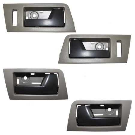 4 Piece Set Front & Rear Inside Door Handles Stone Gray Bezel w/ Black Levers Replacement for Escape Mariner Tribute & Hybrid