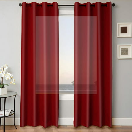 "1 PANEL MIRA  SOLID BURGUNDY SEMI SHEER WINDOW FAUX SILK ANTIQUE BRONZE GROMMETS CURTAIN DRAPES 55 WIDE X 84"" LENGTH"