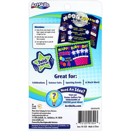 Artskills Poster Flash Reusable Star LED Poster Lights, 5/pkg, With Peel And Stick Foam Squares