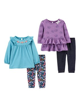 Child of Mine by Carter's Baby Girl Long Sleeve Top & Leggings, 4pc Outfit Set