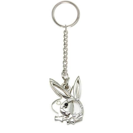 Playboy Handbag/Purse Charm Key Chain Double Bunny Head with Clear CZ Gems for $<!---->