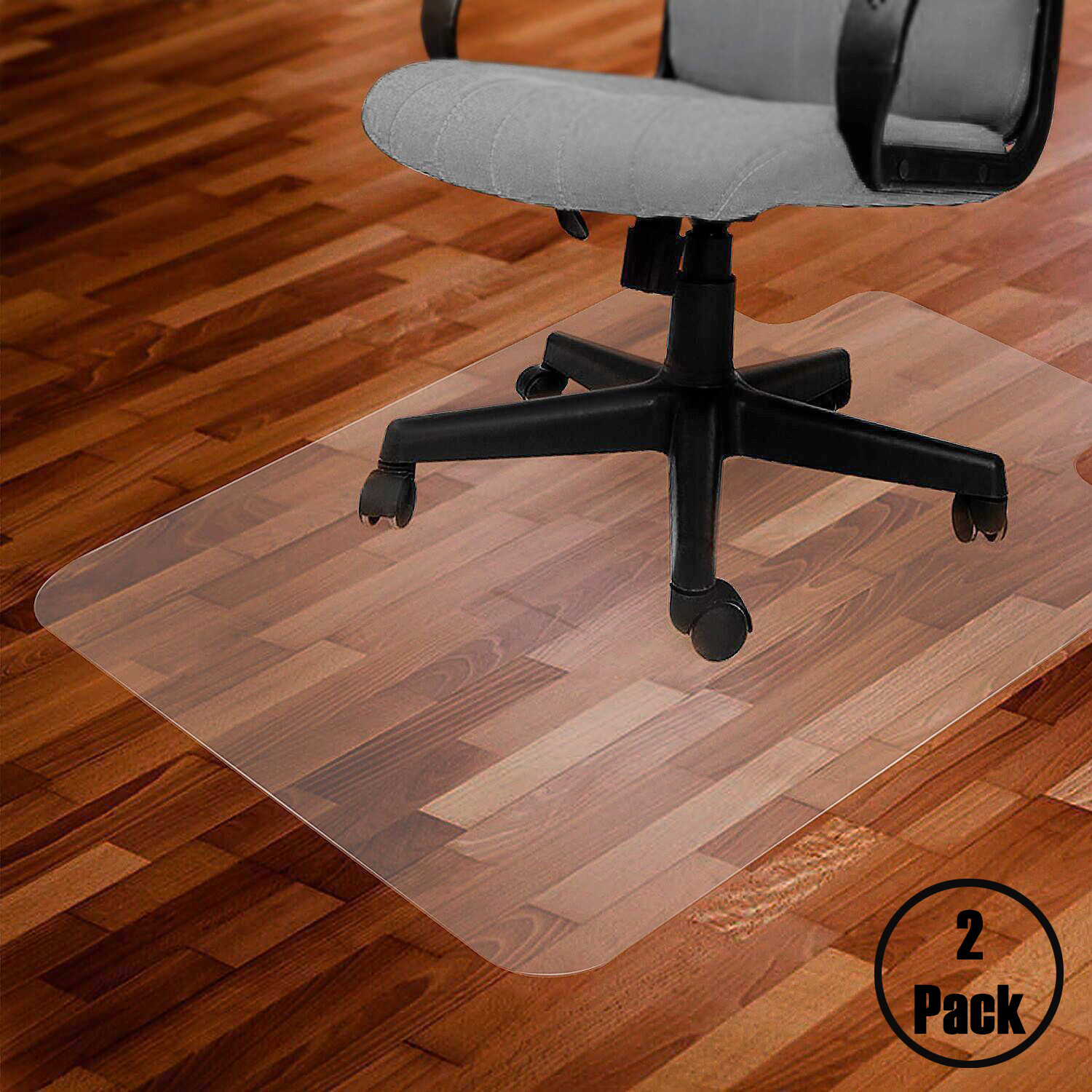 "Zimtown 2 PCS Hot Style PVC Home Office Chair Floor Mat for Hard Wood 48""x 36"" Transparent"
