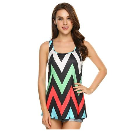 Women Sleeveless O Neck Print Loose High Low Hem Fashion Tank Top HITC