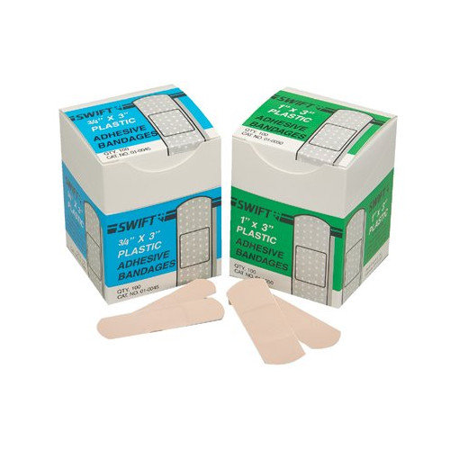 Swift First Aid Adhesive Bandages - 1''x3'' plastic strips 50/box (Set of 10)