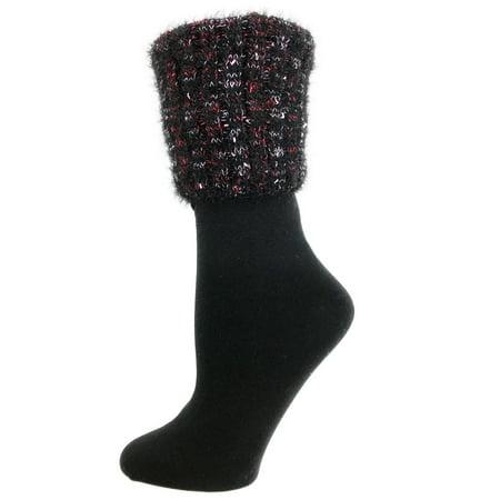 MeMoi Manchester Fleece-Lined Crew Sock - Ladies Warm Winter Socks by MeMoi One Size 9-11 / Black MF7 5200 ()