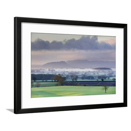 Low Winter Light Rakes across Cheshire Plain with Beeston Castle and Peckforton Sandstone Ridge Framed Print Wall Art By Garry -