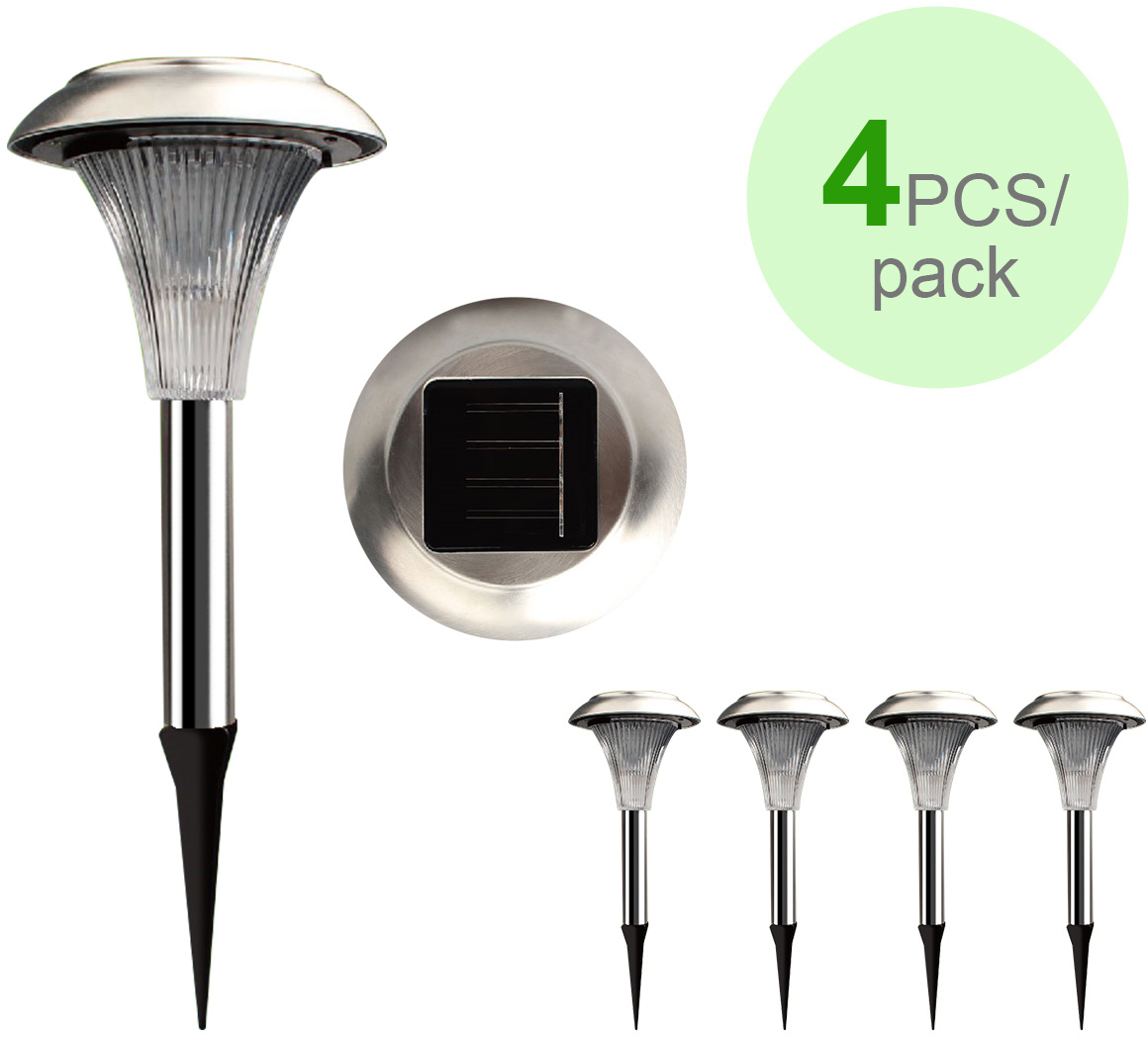 2 Colour Changing Led Stainless Steel Solar Stake Lights: Product Features: