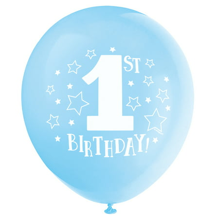 Latex Stars Boy 1st Birthday Balloons, Light Blue, 12 in, 8ct - Boys Birthday Supplies