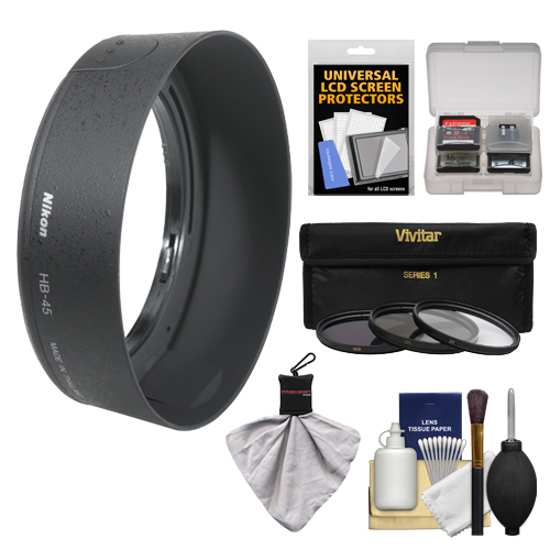 Nikon HB-45 Bayonet Lens Hood for Nikon 18-55mm VR DX AF-S Zoom-Nikkor + 3 (UV/CPL/ND8) Filter Set + Accessory Kit (with D40, D60, D90, D3000, D3100, D5000 & D7000 Digital SLR Camera)