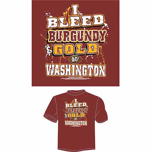 "Washington Football ""I Bleed Burgundy and Gold, Go Washington"" T-Shirt, Burgundy"