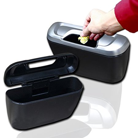 Zento Deals  of Portable Traveling Black Mini Trash Can Modern Plastic Storage Box Organizer on the Go with Double-Sided Adhesive and Clip-On Hooks Installation
