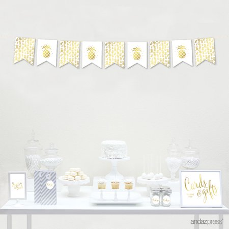 Gold Ink Pineapple Party, Graphics Approx. 7-Feet Hanging Pennant Party Banner with