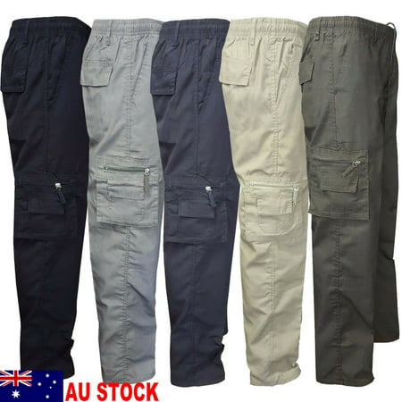 The Noble Collection Camping Hiking Army Cargo Combat Military Mens Straight Trousers Pants Casual