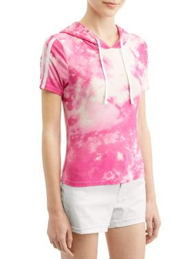 3277b3f850e4b Product Image Juniors' Tie Dye Peached Short Sleeve Hoodie