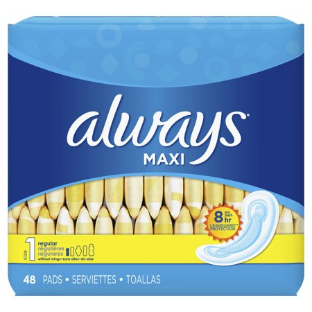Feminine Maxi Pads - ALWAYS Maxi Size 1 Regular Pads Without Wings Unscented, 48 Count
