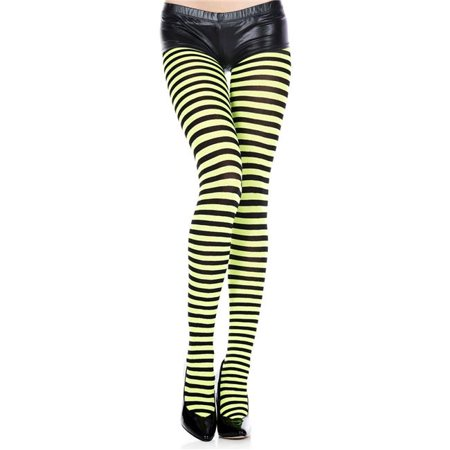 Music Legs 7471-BLK-NGREEN Striped Tights - Black & Neon Green - Green Black Striped Tights
