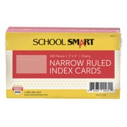 School Smart Ruled Index Cards, 3 x 5 Inches, Cherry, Pack of 100