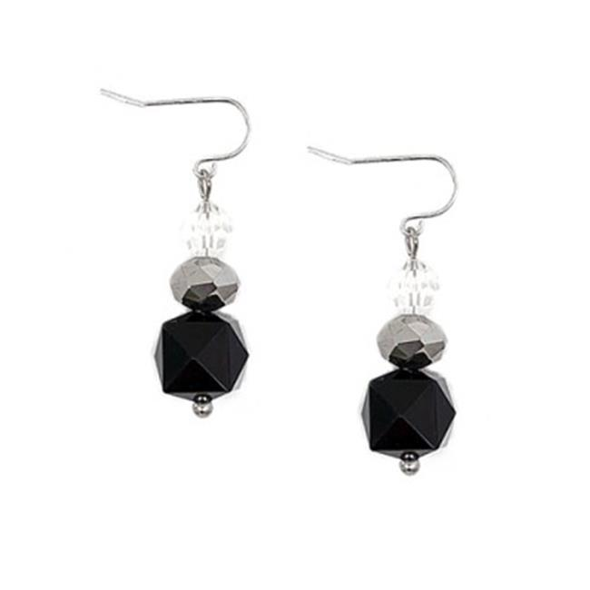 C Jewelry Rhodium & Black Silver And Clear Beaded Dangle Earrings