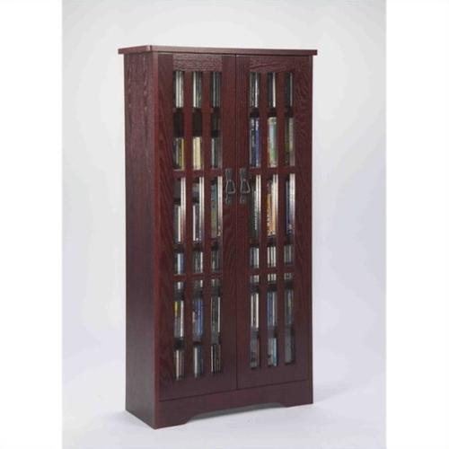 "Leslie Dame 62"" Tall CD DVD Media Storage Cabinet in Dark Cherry"