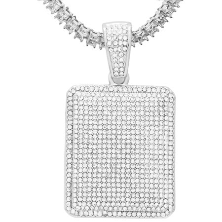 14K White Gold Plated Iced Out Hip Hop Bling Rectangle Dog Tag Pendant 1 Row Square Cubic Zirconia Princess Cut Stones Tennis Chain 18