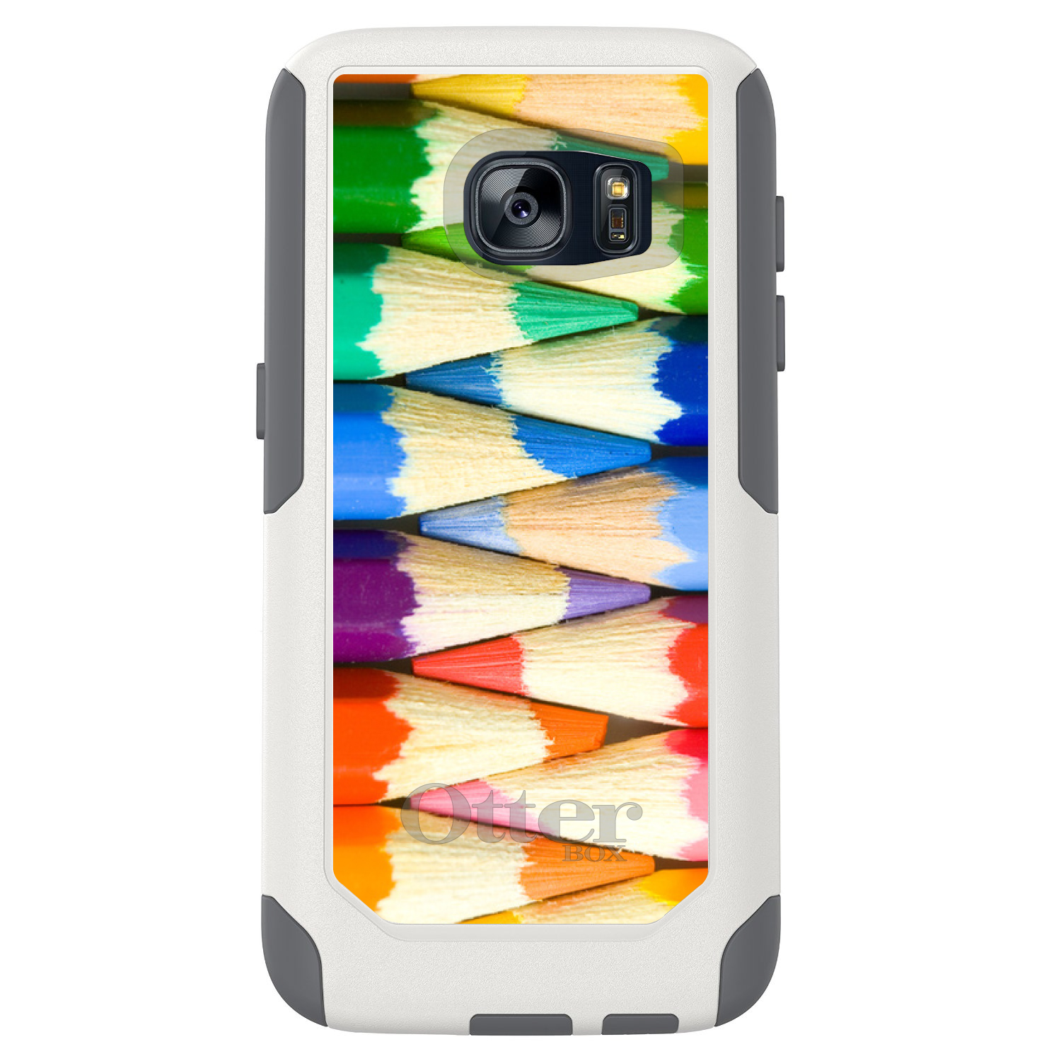 DistinctInk™ Custom White OtterBox Commuter Series Case for Samsung Galaxy S7 - Rainbow Colored Pencils
