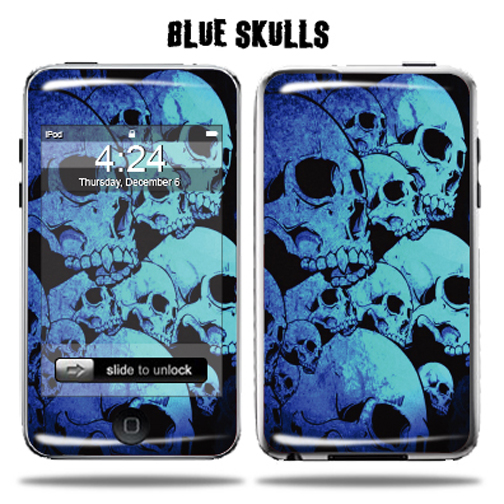 Mightyskins Protective Vinyl Skin Decal Cover for Apple iPod Touch 2G 3G 2nd 3rd Generation 8GB 16GB 32GB mp3 player wrap sticker skins  - Blue Skulls